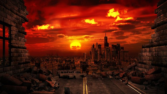 Burned, post apocalyptic city skyline.